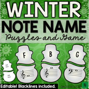 Winter Music Activities- Snowman Winter Music Games and Puzzles