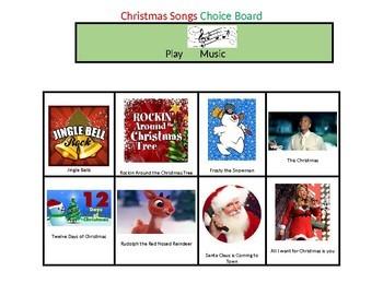 Christmas Music Choice Board