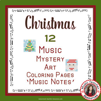 Christmas Music Worksheets: 12 Music Coloring Pages: Music Mystery Art