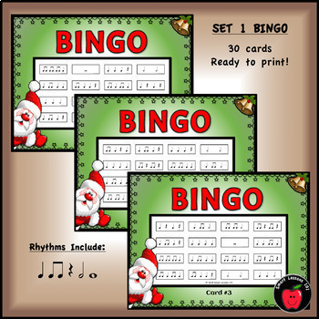 Christmas Music Game: Rhythm Flashcard Bingo Activity