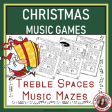 Christmas Music Games: Treble Pitch Mazes for Treble Note Spaces