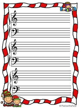 Holiday Music Staff Paper