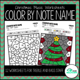 Christmas Music Worksheets: Color by Note Name