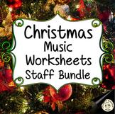 Music Staff Worksheets Bundle for Christmas