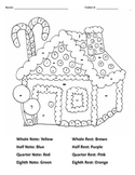 Gingerbread Christmas notes and rests coloring page