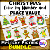 Christmas Color by Number and Place Value Mystery Pictures