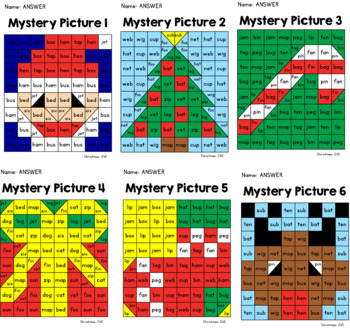 Christmas Mystery Pictures: Letters and CVC Words