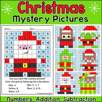 Christmas Activities Addition and Subtraction - Christmas Math Color by Number