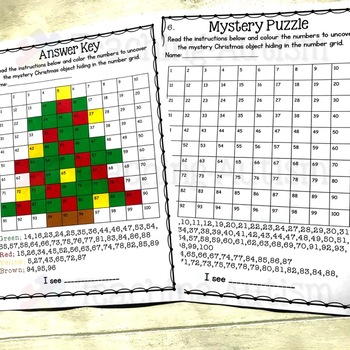 Christmas Math Mystery Puzzles Number Grids