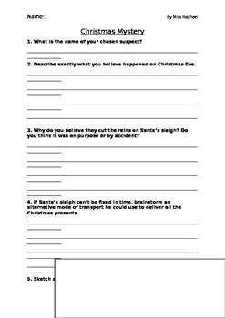 Christmas Mystery Worksheet