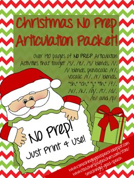 Christmas NO PREP Articulation Packet!