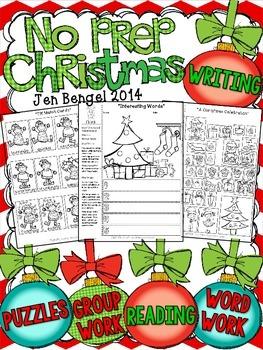 Christmas NO PREP Reading, Language, and Writing Printable