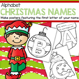 Christmas Theme Beginning Sound Name Posters - Room Decor, Class Book etc.