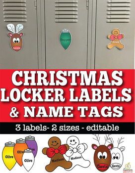 Editable Christmas Name Tags & Locker Labels