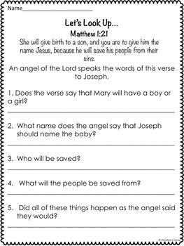 Christmas Nativity Activity Scriptures Bible Verses MATTHEW 1:21 MATTHEW 2:10