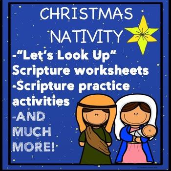 Christmas Nativity Activity Scriptures Bible Verses LUKE 2:7 JOHN 3:16 worksheet