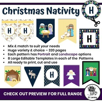 Christmas Nativity Bulletin Board Editable Banner  and Bunting   Class Decor