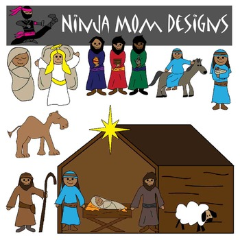 Bible Story Clip Art- Christmas Nativity in Color and Black Line