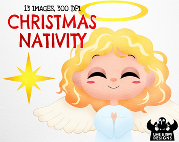 Christmas Nativity Watercolor Clipart | Instant Download Vector Art