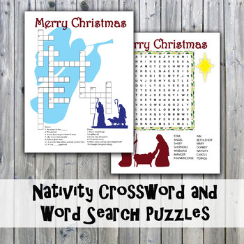 Christmas Nativity Crossword Puzzle and Word Search