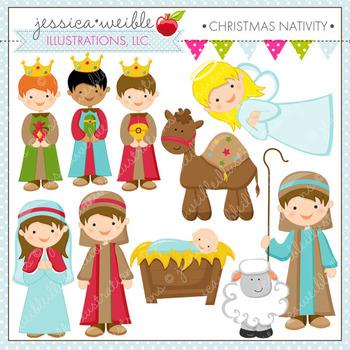 Christmas Nativity - Cute Digital Clipart, Christmas Graphics