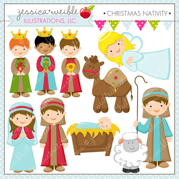 Christmas Nativity - Cute Digital Clipart, Christmas Graphics