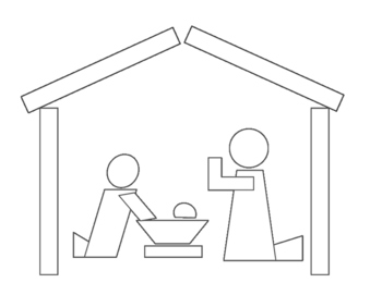 Christmas Nativity - Geometric Silhouette