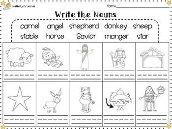Christmas Nativity Grammar Worksheets, Word Wall Words, Flash Cards