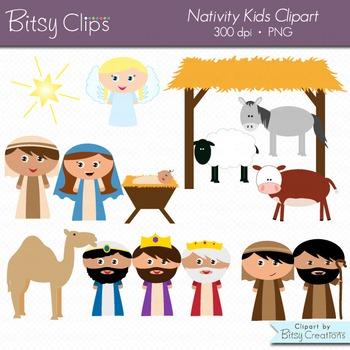 Christmas Nativity Kids Digital Art Set Clipart Commercial Use Clip Art