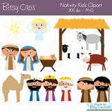 Christmas Nativity Kids Digital Art Set Clipart Commercial