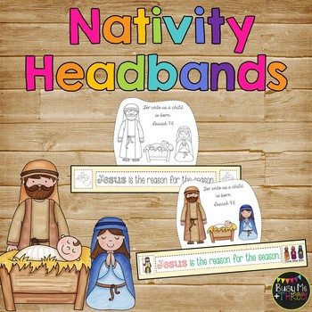 Christmas Nativity Sentence Strip Headband, Jesus {Black Line & Color}