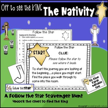 Christmas Nativity Story with questions, activities, scavenger hunt and more