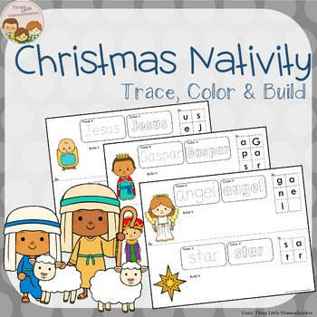 Christmas Nativity Trace Color Build Writing Center Activities