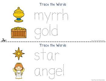 Christmas Nativity Tracing Prewriting & Writing Center Activities