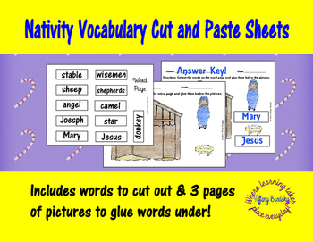Christmas, Nativity Vocabulary Cut and Paste (Glue)