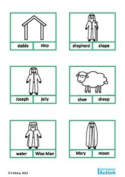 Christmas Nativity Vocabulary Read Match Autism Sunday School