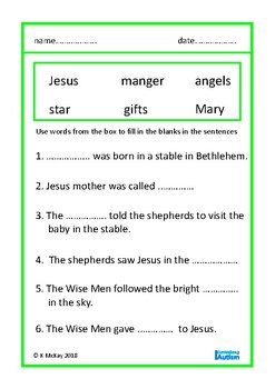 Christmas Nativity Word Search + Fill In Blanks Autism Special Education