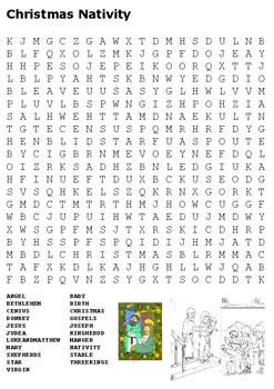 Christmas Nativity Word Search and Color