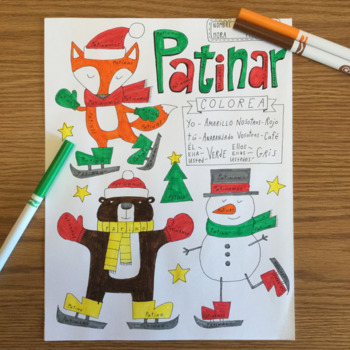 Christmas Navidad Color by conjugation Patinar No prep Spanish -AR verbs