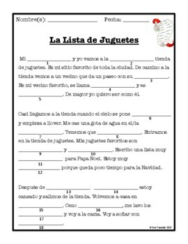Christmas Navidad Fill-in in Spanish Inspired by MadLibs