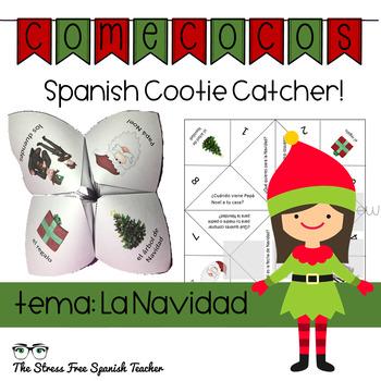 Christmas Navidad Spanish Fortune Teller Cootie Catcher Speaking Activity
