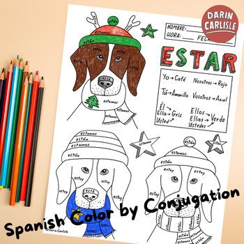 Christmas ~Navidad ~Spanish verb ESTAR ~Color by verb conj