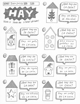 Christmas Navidad Spanish verb Haber Hay no prep worksheet activity printable