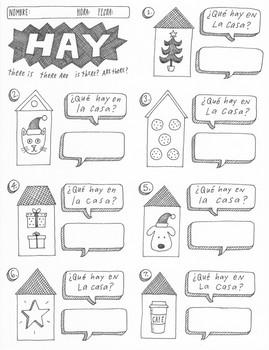christmas navidad spanish verb haber hay no prep worksheet activity printable. Black Bedroom Furniture Sets. Home Design Ideas