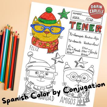 Christmas ~Navidad ~Spanish verb TENER ~Color by verb conjugation ~NO PREP gatos