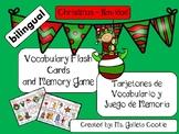 Christmas Navidad Vocabulary Flash cards  memory game bilingual English Spanish