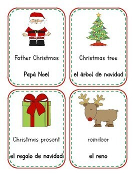 Christmas - Navidad WORD CARDS (English & Spanish)