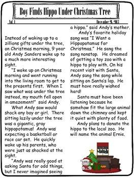 Christmas Newspaper Elaboration Writing Lessons and Craftivity