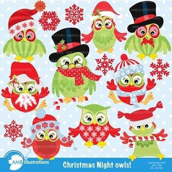 Christmas Night Owls Clipart- AMB-569