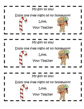Christmas No Homework Coupons-Gift from the Teacher ($1.00 item a month-Dec.)